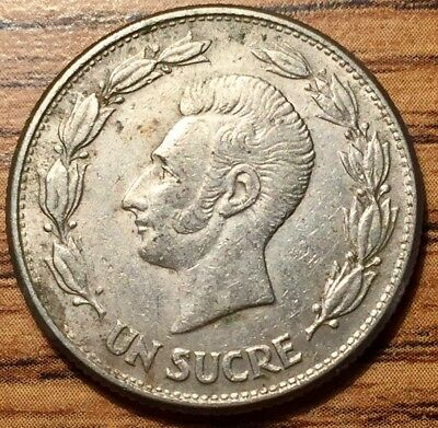1946 Ecuador Un Sucre Copper Nickel Coin - About Uncirculated Condition