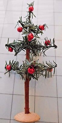 """Antique  Feather Christmas 5"""" Tree Original Tiny Red Ornaments Woos Stand"""