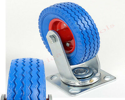 "Wheel  6"" Blue Flat Free Tire Swivel Caster - 300 lbs Capacity"