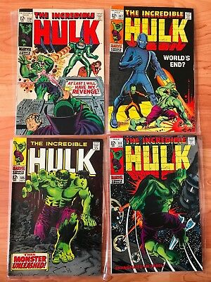 The Incredible Hulk Silver Age #105, #111, #114, #117 See pics for details