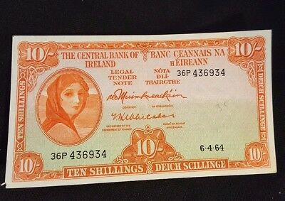 1962 The Central Bank of Ireland Ten Shillings Bank Note NICE condition!