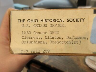 1860 Census MICROFILM Roll Reel Ohio Clermont Clinton County Defiance Genealogy