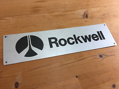 Awesome Vintage Aluminum Rockwell Airplane Aircraft Sign With Logo Free Shipping
