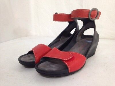 Women's Black And Red Leather Wolky Wedge Heels-Size 39(8.5)