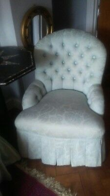 Pair Victorian Upholstered Chesterfield  Tub Arm Nursing Button back Chairs