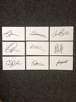 Yorkshire Cricket 2017 X9 Hand Signed White Cards (5x3)