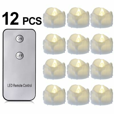 12 Pcs Luminara Moving Wick Led Flame Less Tea Candles With Remote Control Timer