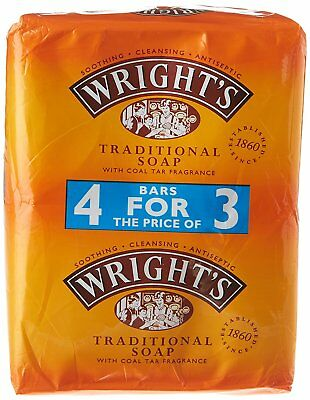 Wrights Coal Tar Soap 4 Pack Traditional Soap Bar Soothing Cleansing Antiseptic
