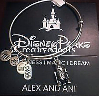 Disney Parks Alex and Ani Star Wars R2-D2 Silver Charm Bracelet New Sold-out