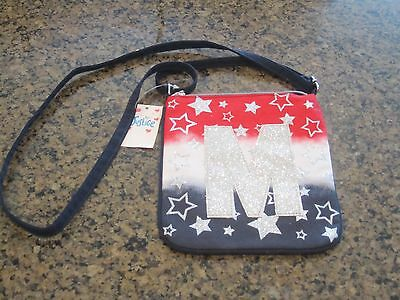 NWT Justice Stars/Stripes Crossbody Bag 4th of July Red White Blue Initial M