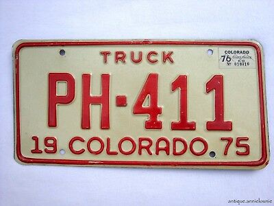 1975 with tag 76 COLORADO Vintage License Plate TRUCK # PH-411