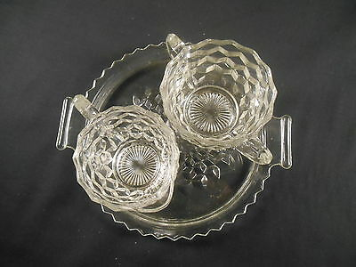Vintage Jeannette Glass Cream & Sugar w/Tray Cube Cubist Pattern Clear