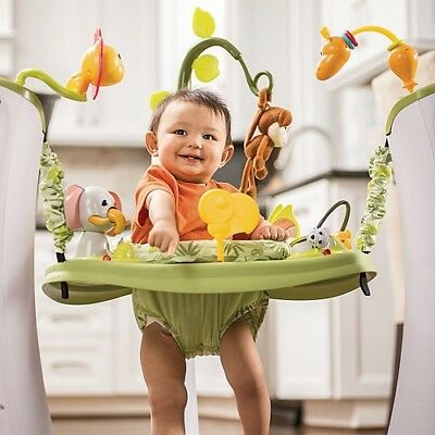 Evenflo ExerSaucer Jump and Learn Stationary Baby Jumper Walker, Safari Friends