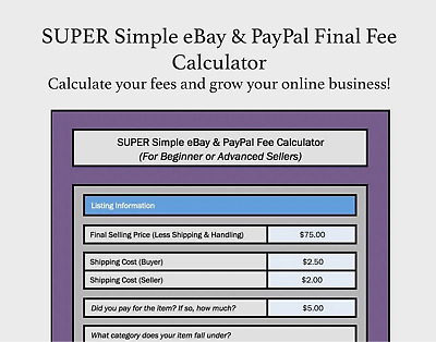 SUPER SIMPLE EBAY & PayPal Final Fee Calculator Selling Microsoft Excel +  FREE