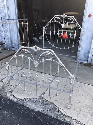 "ANTIQUE CAST IRON BED FRAME ""COMPLETE"" ""ORIGINAL"" HEADBOARD RAILS large castings"