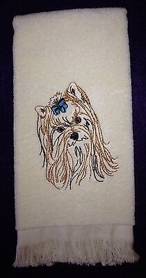 Yorkshire Terrier Head, Yorkie, Towel, Embroidered, Custom, Personalized, Dog