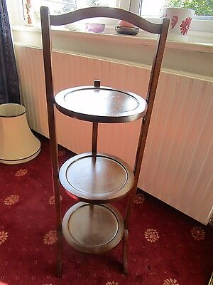 Edwardian antique wooden cake stand 3 tier folding