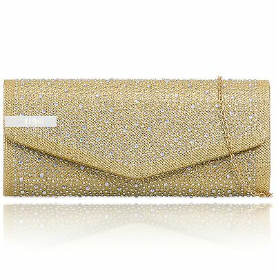 Gold Glitter Diamante Sparkle Wedding Ladies Party Prom Evening Clutch Hand Bag