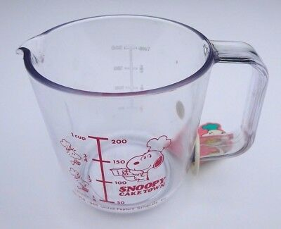 "Vintage Snoopy Cake Town Acrylic Mixing Cup 3"" Tall Made in Japan W/ Tags"