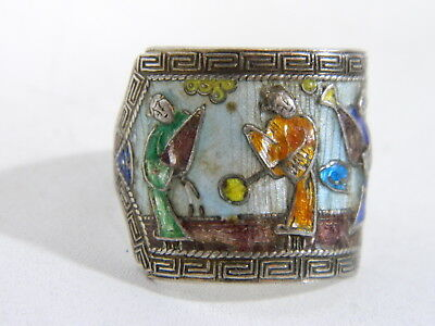 Old China Enamelled Silver Ring