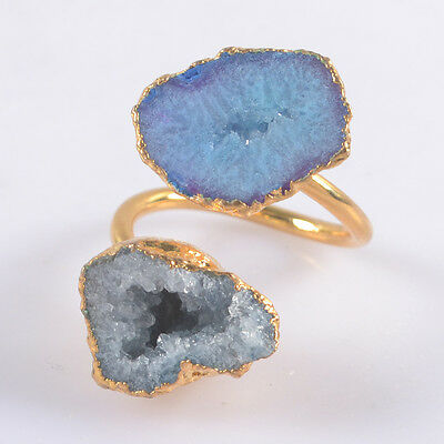 Size 7 Blue Agate Druzy Geode Adjustable Ring Gold Plated T033643