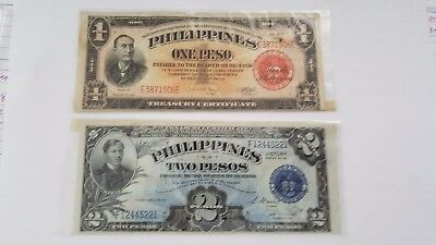1940's Philippines Two Pesos Silver Certificate and One Peso silver certificate