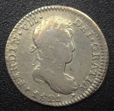 Peru 1821 Silver Real  Km#114.1  C#98  Nearly Extremely Fine