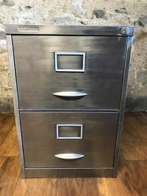 Stunning Industrial Stripped Metal 2 Drawer  Filing Cabinet With Foolscap Rails