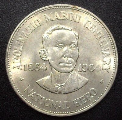 Philippines Nd(1964) Silver Peso  Km#194  Gem+ Uncirculated