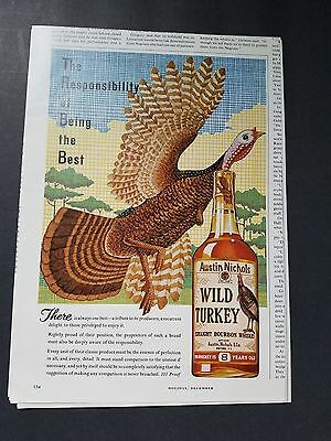 1964 - Wild Turkey - The Responsibility Of Being The Best  - Vintage Print Ad