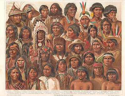 1890's INDIGENOUS NATIVE PEOPLES NORTH & SOUTH AMERICAN  Chromolithograph