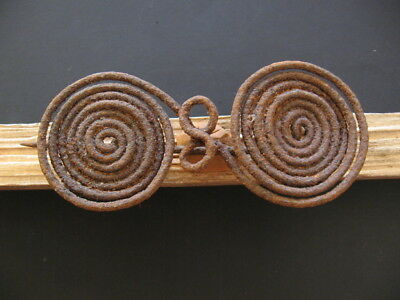 HALLSTATT CULTURE ANCIENT CELTIC SPIRAL IRON FIBULA BROOCH 800-600 B.C. 122 mm.