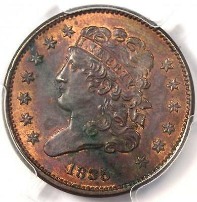 1835 Classic Head Half Cent 1/2C - PCGS Uncirculated Detail (UNC MS) - Rare Coin