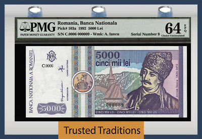 TT PK 103a 1992 ROMANIA 5000 LEI SERIAL NUMBER 9 PMG 64 EPQ CHOICE UNCIRCULATED!