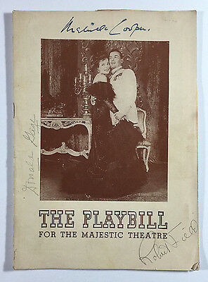 1944 The Merry Widow Signed Playbill Majestic Theatre Melville Cooper w Ticket
