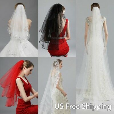 US Stock White Bridal Veils Tulle Wedding Veil With Comb Women Hair Accessories