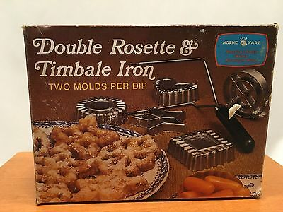 Nordic Ware Double Rosestte & Timbale Iron Vintage 4 Form Molds Set Box Cookie