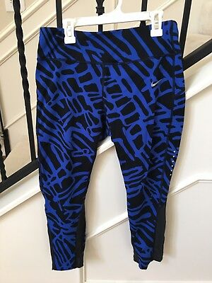 Nike Dri-Fit Womens Athletic Running Capri Pants with Mesh Detail - Size Large