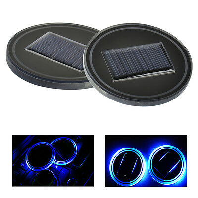 2pcs Car Auto Solar Energy Cup Holder Bottom Pad Mat Blue LED Light Cover Trim