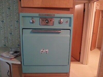 retro 1950's GE wall oven and cooktop antique in aqua blue