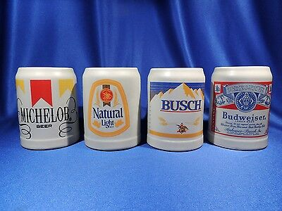 Budweiser Rare Set of Four 1980 CS43-CS44-CS45-CS46 Label/Logo Steins/Mugs