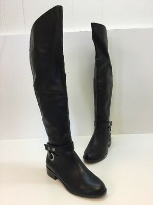 ALDO Black Leather Over the Knee Pull On Boots Women's Size 8