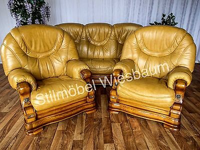 couchgarnitur sofa couch sessel aus eiche und echtem leder eur 1 00 picclick de. Black Bedroom Furniture Sets. Home Design Ideas