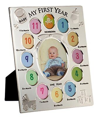 Viceni My First Year Picture Photo Frame 13 Aperture Baby Gift Silver Plated