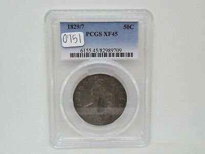 1829 Capped Bust Silver Half Dollar Coin - PCGS XF45