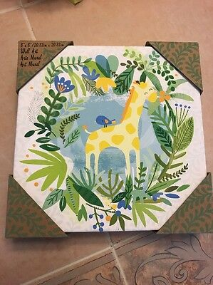 "Lady Jayne NURSERY Wall Art ~ GIRAFFE w/a blue bird in the Jungle 8"" x 8"" x 1.5"""