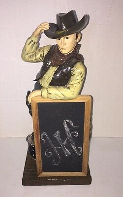 "SONOMA HAPPY TRAIL Western COWBOY Tall 15"" STATUE With Chalk Board Home Decor"