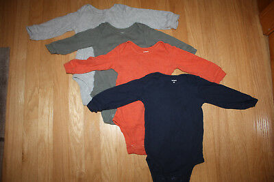 Carter's Baby Boys Infant Set of 4 bodysuits one pieces Onsies Long SLeeve 12M