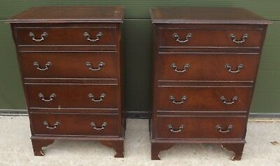Pair Of Mahogany-Finished Four-Drawer Bedside Chests Tables In The Antique Style