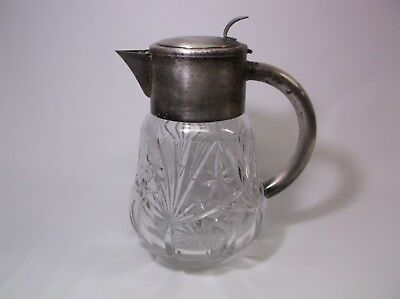 Antique Claret Decanter Fine Cut Crystal Silverplate Handle Spout Elegant HEAVY